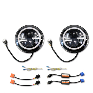 1997-2016 Jeep Wrangler TJ/JK 7 Inch 75W Black Angle Eyes Dual Round Led Headlight